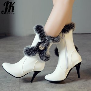 JK Mid-Calf Boots Wome Fur Pearl Boot Ladies Fashion Party Round Toe Shoes Female Thin High Heels Shoes Winter Plus Size 34-50