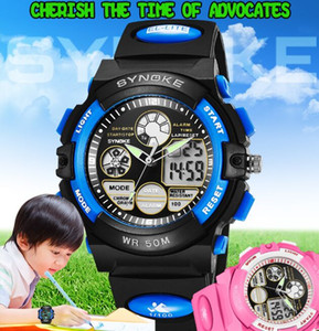 New Boy Girls Student Relojes Outdoor Sport 50m Waterproof Synoke 99266 Brand Quartz Digital Clock Electronic Children Led Watch