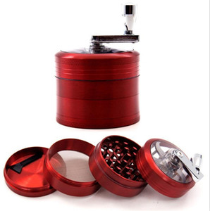 55mm 63mm 4-layer Manual grinder hand-cranked zinc alloy coffee spice cigarette grinder smoke grinder with a handle smoking accessories DHL