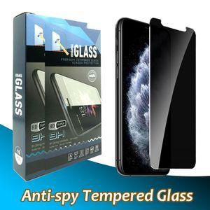 Gizlilik Anti-Casus Temperli Cam Ekran Koruyucu iphone 12 11 Pro Max XR XS X 6 7 8 Artı Perakende Paketi ile