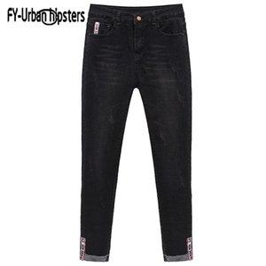 Fy-Urban Hipster Denim Neuf pantalons Femmes Mid-Taille déchirée Skinny Stretch Poignets Slim Slim Jeans Casual ELASTIC PLUS Taille