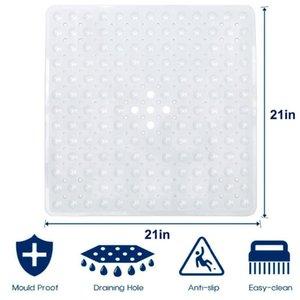 54*54cm Quick Drain Shower Mat Anti-slip Bath Mat Carpet for Bathroom Non Slip Square Shower Stall Machine Washable Suction Cups