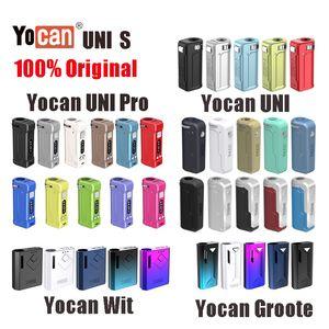 Оригинальные yocan Uni Pro Uni S Wit Groote Box Mod Mod Vape Pen Battery Регулируемое напряжение предварительно нагревая батарея E CiGarette Kit Wax Vape Pen Fit All Vap