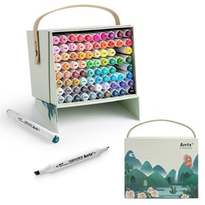 Arrtx 80 ألوان نابضة بالحياة مجموعة من الكحول ماركر Alp المزدوج نصائح ماركر القلم للرسم تصميم بطاقة رسم للفنون يعمل Art 201125