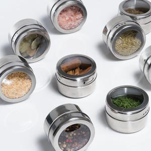 Botella de almacenamiento condimento puede Pimienta Sal de cocina Cocina al aire libre Barbacoa Portátil Esenciales tanque de acero inoxidable puede CYF4555-2