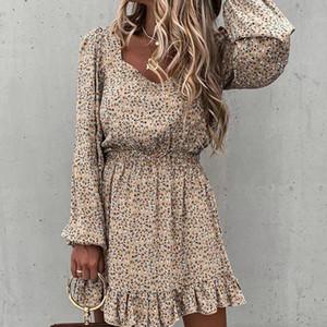 Fashion Women Strapless Dress Summer Beach Casual Evening Short Mini Dress Ladies Long Sleeve Elastic Waist Ruffle Print