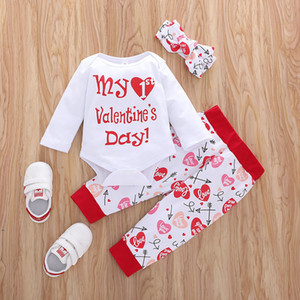 Baby Wear Clothing Long Sleeve Romper Pants Headband 3 pcs Love You Fashion Girl My 1st Valentine's Day Baby Suit Outfit Clothe