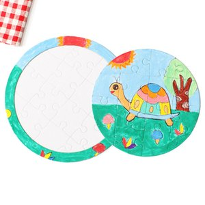 4 Style DIY Blank Puzzle Painting Graffiti White Mold Coloring Paper Puzzle Unique Children Gift FWA2416