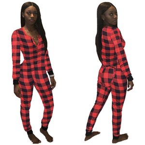 2021 Autumn Women's Red Black Plaid Patchwork Jumpsuit Fashion V-neck Sexy Siamese Trousers Casual Sports Leggings Home Clothing E120803