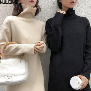 Nijiuding 2020 Automne Hiver Nouveau Robe tricotée à manches longues en vrac Femmes Vintage Solide Terrtleneck Slim Robes A-Line Femme Q0111