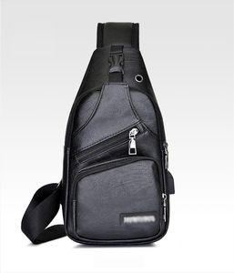 Mens PU Shoulder Sling Chest Pack USB Charging Sports Fashion Anti Theft Chest USB Charging School Short Trip Messengers Bags