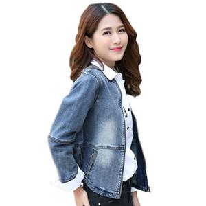 Letter Korean Slim Short Denim Jacket 2020 Spring New Large Size Fashion O-neck Vintage Jeans Coat Female Zipper Outerwear f578