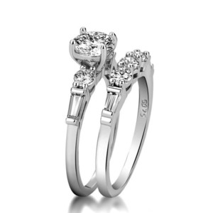 Super White Gold Color Zircon Lady Rings New Fashion Wedding Engagement Ring Set Jewelry Gifts For Women 2pcs Clear Ring free shipping