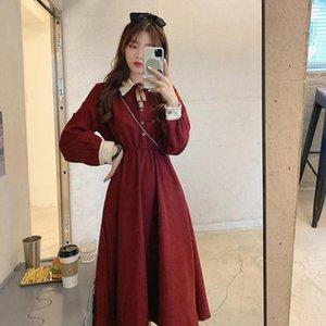 Fairy Vintage Dress Women Autumn Long Sleeve Retro French Elegant Dress Female Casual Party One-Piece Korean 2021 Winter