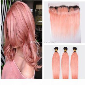 Оммре наращивания волос два тон # 1b розовое золото омбре бразильские прямые отвязки человеческих волос с розовым 13x4 '' Lace Fronta