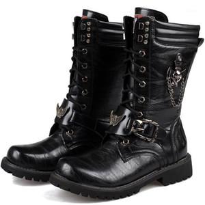 Botas de motocicleta homens motocross botas moto ot retro couro artificial punk martin motocicleta botas protetora engrenagens1