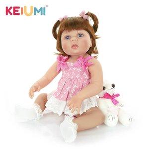 Keiumi 23-дюймовый Reborn Reborn Baby Dolls Full Silicone Vinyl Realistic Girl Coll для детей на день рождения подарки Best Playmate Q1124