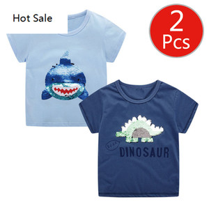 Boy Shirts 2pcs Dinosaur Paillette 2 Colors Changing Kids Tops Clothes Wholesale Baby Kids Shirts Summer Shirt