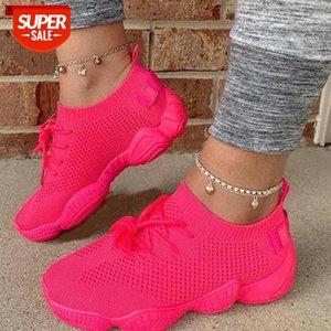2021 Malla de aire Mujer zapatillas de deporte zapatos de calcetín de verano transpirable cruzado plataforma de la plataforma de punta redonda de la moda casual de la moda de cordón de cordón para mujer chica # cl8r