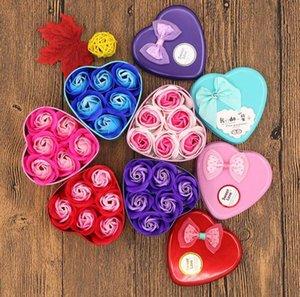 Día de San Valentín Regalo Jabón creativo Flor Caja de regalo Día de San Valentín Decoración de Rose Flor En forma de corazón Caja de lata Fiesta de cumpleaños Mar GWC5972