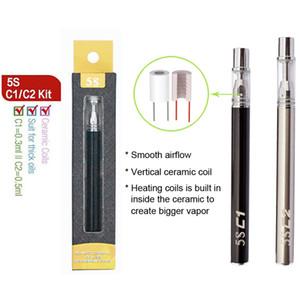 Disposable Vape Pen E Cigarettes 5S C1 C2 0.3ml 0.5ml Glass Tanks 320mAh Battery Starter Kits Vaporizer Pen E Cigs Foam PVC Tube Packaging