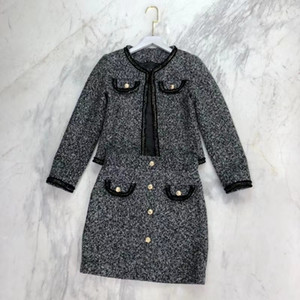 Free Shipping 2021 High End Buttons Short jackets And Skirts High End Designer 2 Pieces Sets 282101