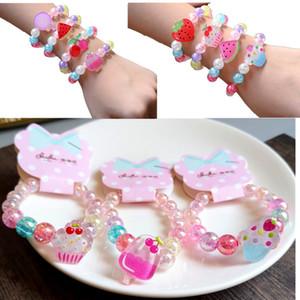 Girl kids Jewelry Bracelet Candy Color Transparent Beads Fruit Princess Bracelet kids girl Charm Jewelry gift