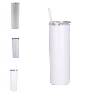 600ML Straight Stainless Steel Cups Plastic Straws Covers Slim 20oz Pillar Shape Mugs Sublimation Blank DIY Tumblers Solid Color G2