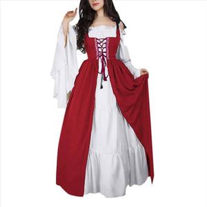 Woman Dress Elegant Evening Long 2019 Square Collar Bundle Corset Medieval Renaissance Vintage Dress Two Piece Set