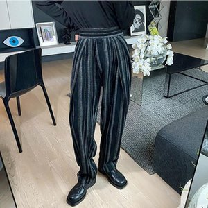 Winter Men Wide Leg Pants Vintage Striped High Waist Belt Woolen Thick Straight Trousers Side Pleated Baggy Oversize Pant