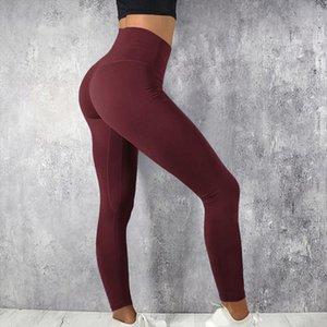 Burgundy Fitness Leggings Women High Waist Push Up Elastic Gym Sport Leggings Spandex Plus Size Workout Legging Pants