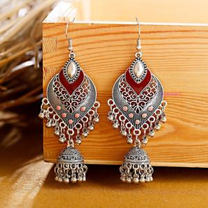 Retro Exotic Water Drop Love Indian Birdcage Bell Pendant Earrings