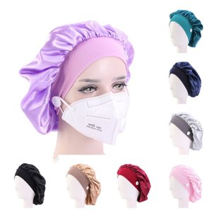 Women's Mask Hats Stretch wide brim headband satin hair care hat With Button Headwrap For Ear Mask Holder Hairlace hair Boutique G12303
