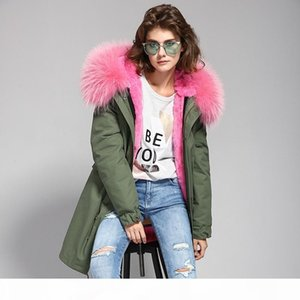 2017 new High quality fashion women luxurious big raccoon fur collar coat with rabbit wool hood warm winter jacket liner parkas long top