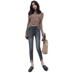 High-taillierte Frauen Jeans Persönlichkeit Geschnittene Unterbrochene Show Skinny Gesäß Kleiner Fuß Hosen Frauen Kleidung Fabrik Direct Sale