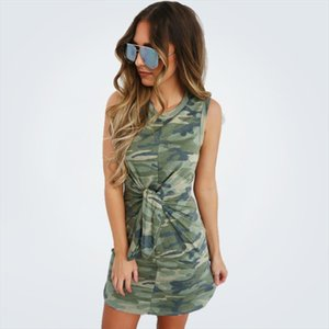 Camouflage Summer Dress for Women Fashion O Neck Short Sleeve Army Green Mini Dress Tie Knot Decor Ladies Bodycon