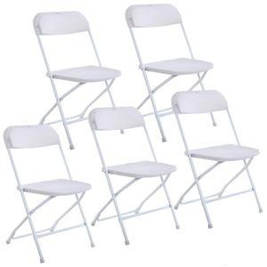 Nouveau ensemble de 5 chaises pliantes en plastique Fête de mariage chaise d'événement blanche commerciale