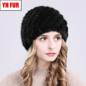 Hot Winter Women Real Beanies Knitted Striped Casual Natural Caps Russia Good Elastic Quality Mink Fur Hat