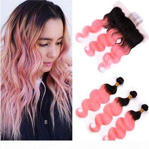 Ombre Rose Oro Body Wave Malassian Hair 3bundles Raíces negras con frontal # 1b Ombre rosa Ombre Weave Weaves con cierre frontal de encaje 13x4