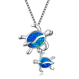 Sea Life New Collection 925 Silver Jewelry Opal Sea Turtle Pendant Mother and Baby Silver Pendant Necklace For Gift