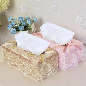1pcs Spitze Emboridery Gewebe-Kasten-Abdeckung Pastorale Serviettenhalter Abdeckungen Removable Facial Tissue-Hüllen Wedding Car Zimmer Box