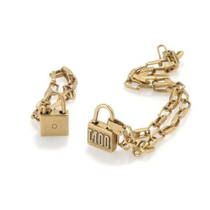 Hot Sale Retro Lock Chain Necklace High Quality Jewelry Set Classic Brass Fashion Woman Necklace and Bracelet