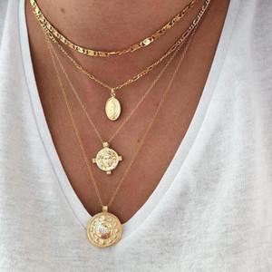 ALYXUY Trendy Çok Katlı Zincir kolye gerdanlık kolye Yüz Portre Coin ile Ay kolye Moda Kadınlar Bildirimi Takı