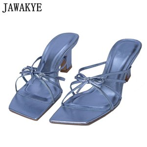 Hot Sale-Chic Aqua Blue Bowtie Strappy Sandals Summer Square Heel Flip Flops Dress Mules Ladies Outdoor Formal Slippers Shoes Women