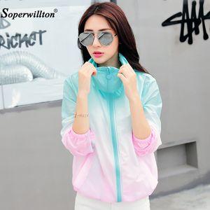 Soperwillton Summer Outerwear Rainbow Color Sun UV Protection Clothing Female Hooded Jacket Thin Breathable Beach Cardiga Coats LJ201120