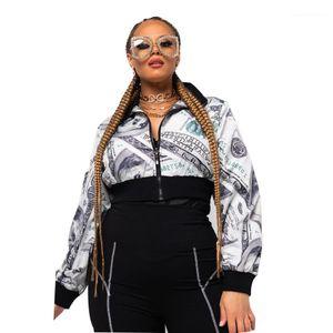 Dollar Print High Waist Zipper Cardgian Coat Casual Jackets Female Clothing Womens Designer Coat Fashion Lapel Neck