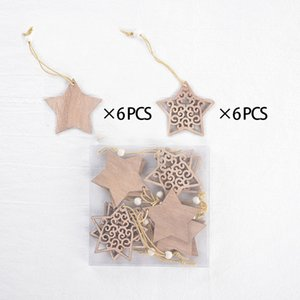Christmas Decoration Pendant Woodiness Snowflake Small Ornament Five Pointed Star Box Packed Hollowing Out Pendants Direct Deal 4 8ms H2