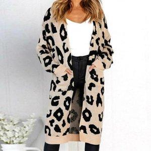 Donne aperte anteriore maglione lungo maglione cardigan moda casual leopardo leopard manica lunga maglia cappotti autunno outwear jumper kaki verde