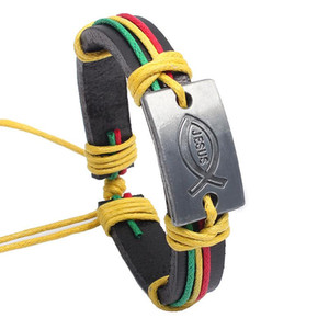 genuine leather bracelet lover's wax rope braided cowhide male small fish bracelet multi color