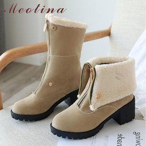 Meotina Winter Ankle Boots Women Boots Zipper Thick High Heel Short Fashion Round Toe Shoes Lady Autumn Green Big Size 43
